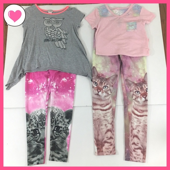 Justice Other - Girls cat cheetah legging pink lace owl Justice 10
